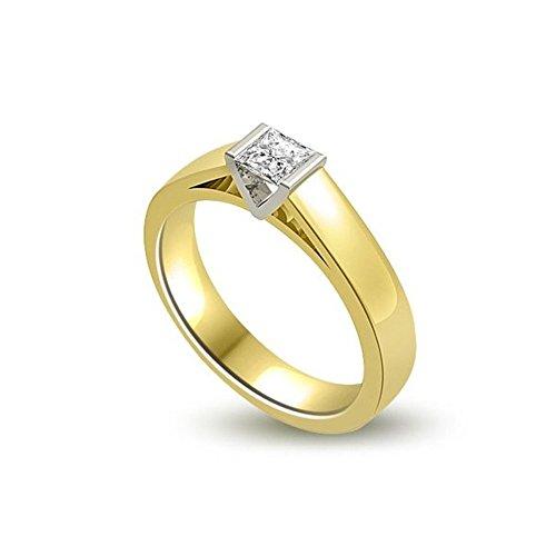 0.20ct H/SI1 Solitär Diamant Verlobungsring für damen mit Prinzessschliff Diamanten in 18kt (750) Gelbgold & Weißgold