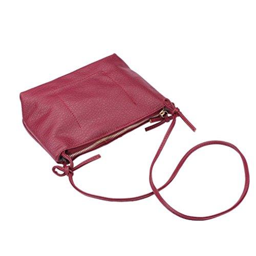 Vovotrade® Le donne faux cuoio della borsa tracolla borsa (Nero) Rosso