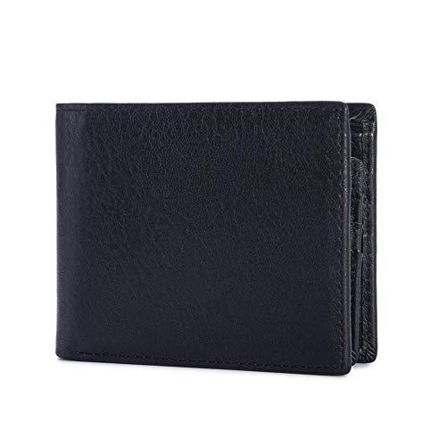 GAOQQ Mens Wallet Clip - Echtes Leder Geldbörse Mit 1 ID Fenster (schwarz/Orange),Black -