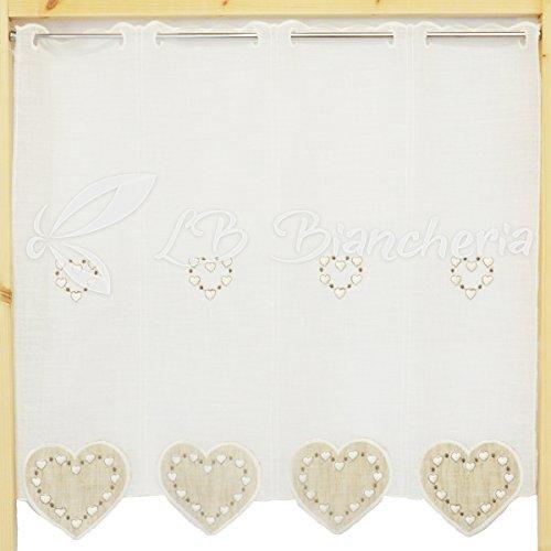 R.p. coppia tendine tende ricamate cuori country love tirolese - 100% cotone made in italy - cm 45x60 - beige