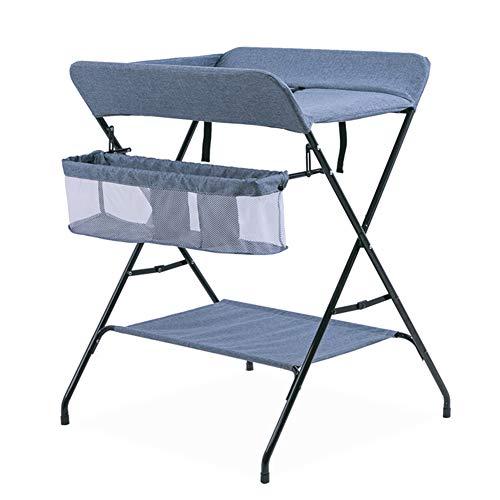 Tables à langer Table portative de couche-culotte se pliante avec des enfants de table à langer avec le stockage, organisateur de couches de pondération pour le voyage infantile (Couleur : Bleu)