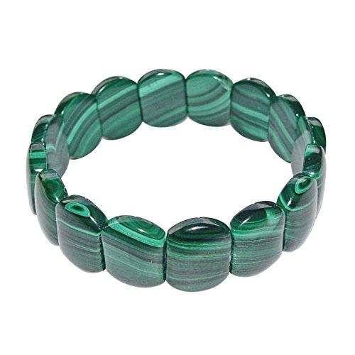 Malachit Armband flach anliegend schöner grün gemaserter Malachit A* Qualität.(3832)