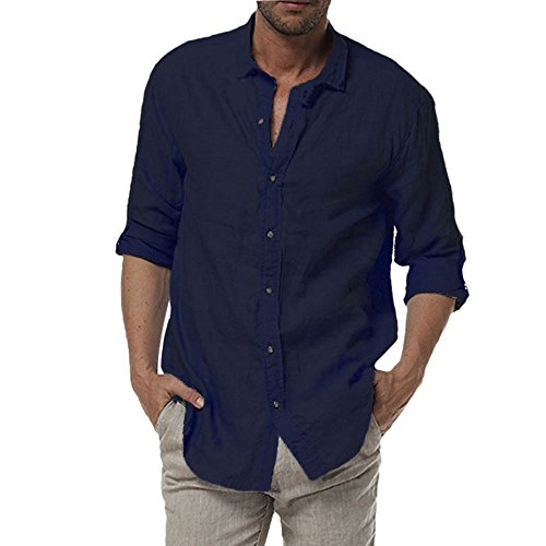 Najia Symbol Herren Beiläufig Lange Ärmel Buttons 100% Leinen Hemd