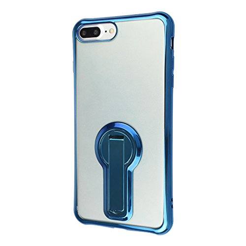 Etui iPhone 7 Plus TPU Transparent, Coque iPhone 7 Plus TPU Case, Moon mood® Soft TPU Étui Arrière Housse avec Support Fonction pour iPhone 7 Plus 5.5 pouce Souple Silicone Coquille Back Case Cover Co Bleu