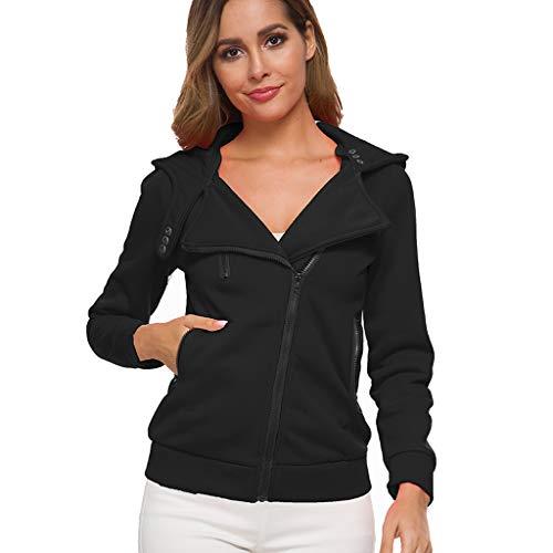 CUTUDE Kapuzenpullover Damen Langarm Einfarbige Sweatshirt Hoodie Lose Reißverschluss Taschen Sweatjacke Kapuzenjacke Bluse Outwear Mantel für Frauen 14 Farben Gr.XS-5XL (Schwarz, XXX-Large)