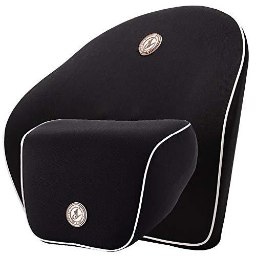 Premium cuscino ammortizzatore lombare e cuscino per riposare il collo, cuscino lombare memory per terapia della postura, allevia e previeni il dolore alla schiena, per la casa, l'ufficio, l'auto, il viaggio,black