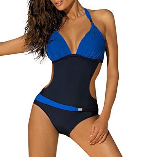 Damen Badeanzug Cut Out Monokini Neckholder Lonshell One Piece Swimwear Einteilige Schwimmanzug Sexy Rückenfrei Bikini Set Strandmode Push Up Swimsuits Bademode -