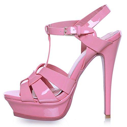 COOLCEPT Damen Mode T-Spangen Sandalen Open Toe Slingback Stiletto Schuhe Rosa