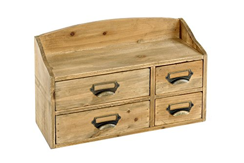 Geko Meuble 4 tiroirs style Shabby Chic, en bois, marron, petit