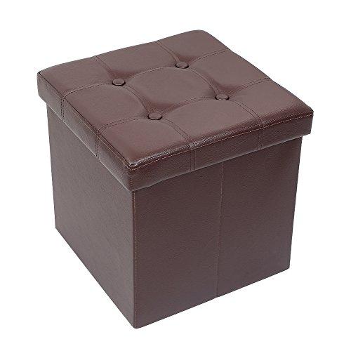 Amoiu Taille Grande 76cm Ottoman de Rangement Pliable Coffre Cube de Repose-Pieds Tabouret de Café Banc d'Éponge Confortabl