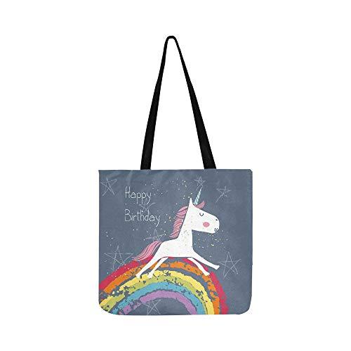 Happy Birthday Karte Unicorn Canvas Tote Handtasche Schultertasche Crossbody Taschen Geldbörsen für Männer und Frauen Einkaufstasche