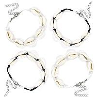 CAILI 4 pcs Adjustable Shell Bracelet, Hawaiian Style Bracelet, Beach Natural Shell Woven Bracelet, Creative Casual Jewelry (2 Black Ropes, 2 White Ropes)