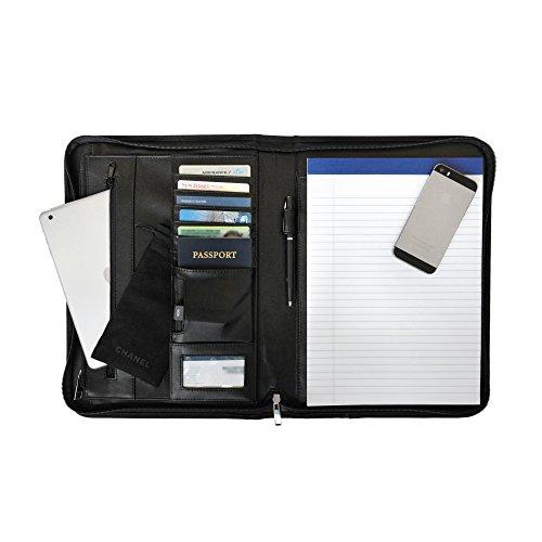 Cartella portadocumenti A4 di Nomalite | Ventiquattrore rigido di viaggio in pelle vegan con maniglia. Portablocco che protegge documenti, iPad e Surface Pro nella tasca imbottita. Include taccuino.