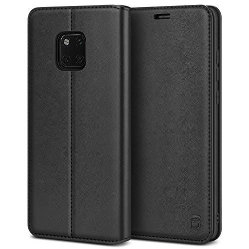 BEZ® Handyhülle für Huawei Mate 20Pro Hülle, Tasche Kompatibel für Huawei Mate 20 Pro, Schutzhüllen aus Klappetui mit Kreditkartenhaltern, Ständer, Magnetverschluss, Schwarz