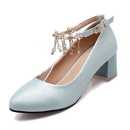 AllhqFashion Damen Schnalle Spitz Zehe Mittler Absatz Rein Pumps Schuhe Blau
