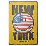 Nueva York Chapa y placa decorativa vintage retro: 30 cm x 20 cm. Carteles metálicos y poster de New York, Estados Unidos de América.