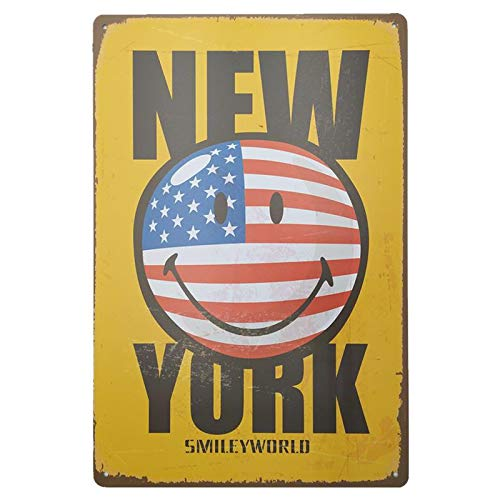 Plaque Metal Decoration Murale New York. Affiche Vintage Deco Mural Poster Retro
