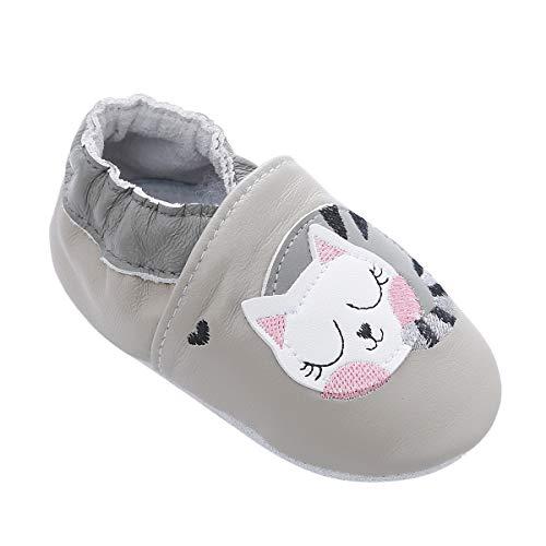 Weiche Leder Babyschuhe mit Mokassins Wildledersohlen für Kleinkinder Kleinkinder Jungen Mädchen Prewalker Schuhe (6-12 Monate, Faule Katze) -