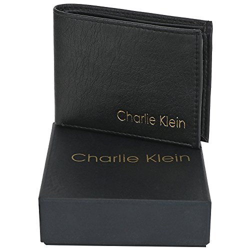 Charlie Klein Trendy Leather Wallet With Detachable Money Clipper For Men (Black)