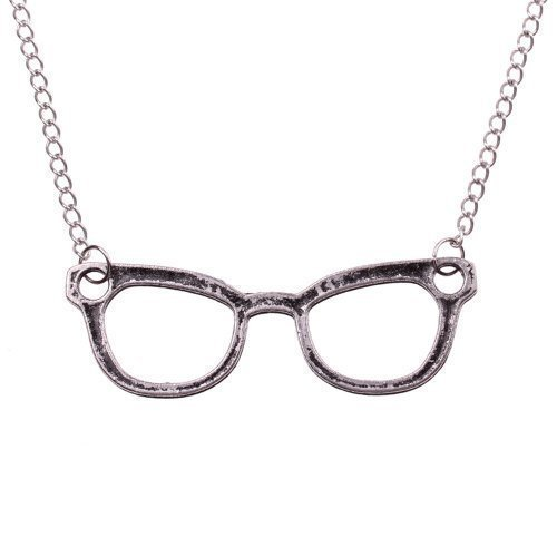 Nerd Halskette mit großer Brille - ca. 70cm lange Kette - Anhänger Vintage Hornbrille silber