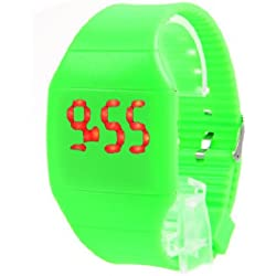 CHIC*MALL Ultra-Thin Unisex Boy Girl Touch Screen LED Digital Silicone Sport Wrist Watch Green