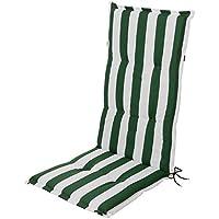 Silla de jardín cojines cojines acolchado para respaldo alto rayas verde blanco