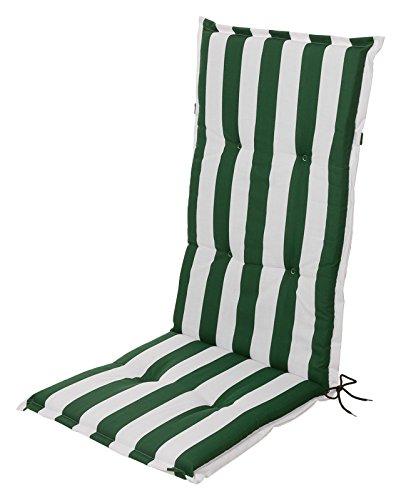 Schwar Textilien Stuhlauflage Hochlehner Auflage Sitzauflage Gartenstuhlauflage Blockstreifen Grün...