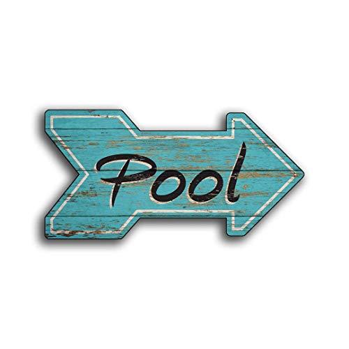 Evan332Eddie Holzschild, Holzschild, handgefertigt, Pool-Haus, 16 W x 8 h, Pfeil-Dekor, Resort, Strand, Hütte, Club, Haus, Shack Pfeile, Wanddekoration