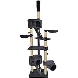 Dibea KB00403 Árbol Rascador Escalador para Gatos, 240-260 cm, Altura Ajustable Del Techo Gris