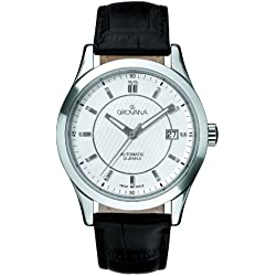 GROVANA 1208.2532 Men's Automatic Swiss Watch with White Dial Analogue Display and Black Leather Strap