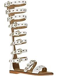 7973bf8fa8a88 Fashion Thirsty Sandales Plates avec Lanières - pour Femme - Hautes Style  Spartiate - Été