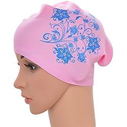 medifier Mujer Elástica de natación piscina de agua gorro de natación silicona Ear Wrap gorro para pelo largo adultos diseño de flores, rosa
