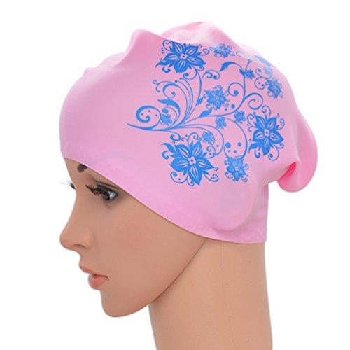 Medifier Damen Badekappe, elastisch, Silikon, für langes Haar, für Erwachsene, mit Blumenmuster, rose
