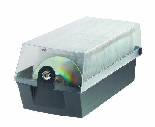HAN 9260-13, CD-Box MÄX 60, Profibox für 60 CD/DVDs, Sicher mit Schloß und 2 MÄX Trays, schwarz