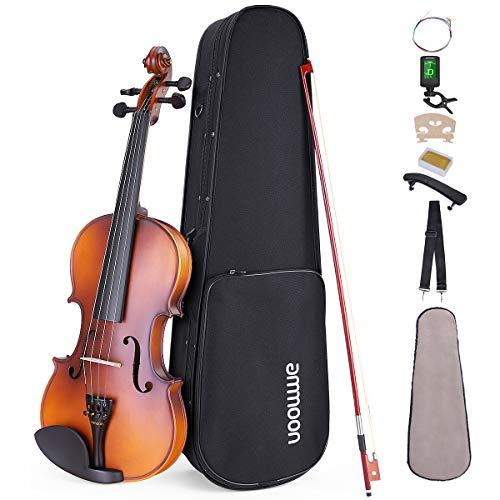 ammoon Violine Set 4/4 Geige, Matte Acoustic Violine Geige für Anfänger mit Hartschalenkoffer, Schulterstütze, Tuner und Saiten