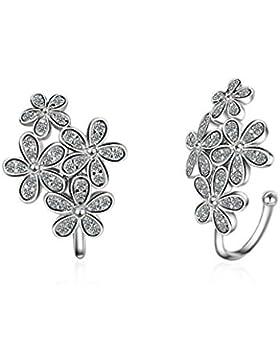 Ohrclips Ohne Ohrloch Damen mädchen 925er Sterling Silber mit Zirkonia Einfache Blumen ohrklemmen