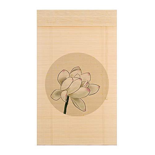 Persiana de bambú Roll Up Blind Sombra para El Sol con Cenefa, Ventana Estilo Japonés, Persianas Enrollables, Bambú, Cortinas Romanas para Puerta/Patio/Balcón, Personalizables