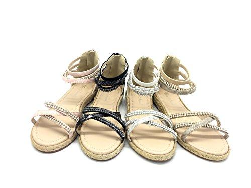CHIC NANA Chaussure Fille Mode Sandales Ashley, Semelle Espadrille, Ornée de Strass Fantaisie.
