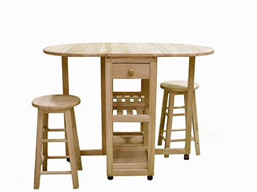 CJ Rubber Wood Folding Dining Table with 2 stools, on Wheels with 2 Drawers and 2 Shelves