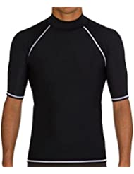 Tuofeng Mens Sun Protection Swimwear Short Sleeve T-shirts Tops Swimming Surfing Diving Swimsuits