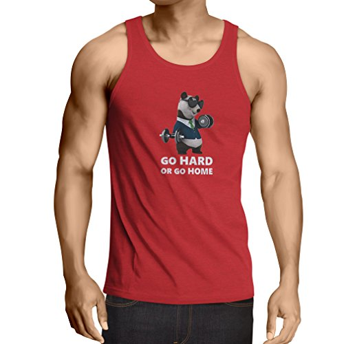 lepni.me Weste Go Hard or Go Home - Boxen, Heben, Fitnessstudio, Fitness - lustige Übungskleidung (Small Rot Mehrfarben)