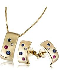 Goldmaid Damen-Set Halskette + Ohrringe 375 Gelbgold mit Saphire, Diamanten und Rubine Kettenanhänger Schmuck Diamantkette