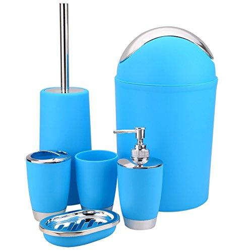 6 Piezas Conjunto de Accesorios de Baño (Porta Cepillos de Dientes, Jabonera, Dispensador de Jabón, Escobilla para Inodoro y el Soporte, Cubo de Basura, Vaso para Enjuague Bucal), Azul
