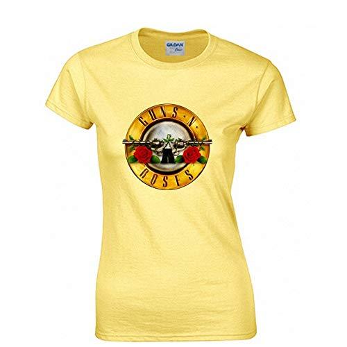 JJZHY Rock Guns N \'Roses Kurzarm T-Shirt Damen GNR Band Lässige Baumwolle Kurzes T-Shirt,Gelb,XL