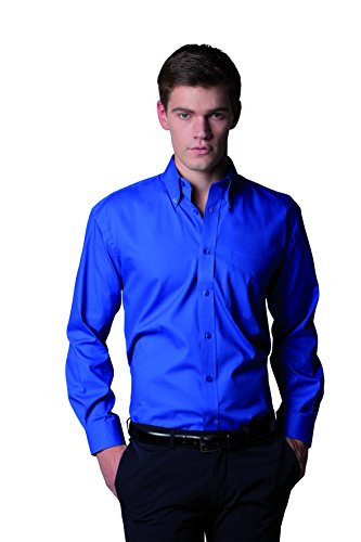 Kustom Kit Corporate Oxford Shirt mit langen Ärmeln Blau - Hellblau