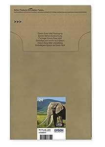Encre d'origine EPSON Multipack Eléphant T2428 : cartouches Noir, Cyan, Magenta, Jaune, Cyan clair, Magenta clair [Emballage « Déballer sans s'énerver par Amazon »]