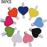 lumanuby 50pcs Mini Sweet forma de corazón arte Tarjeta de clip pinzas de madera papel de fotos Craft multifuncional pinzas para ropa de papel DIY Mini pequeñas de madera Clip uno (colores