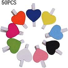 Cosanter 50 Piezas Mini Pinza de Madera con Corazón Adorno para Celebración Boda Multicolor