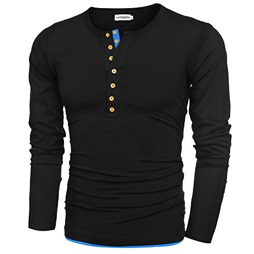 HOTOUCH Herren Henley Shirt Langarmshirt Slim Fit T-shirt Basic Freizeitshirt Typ1-Schwarz