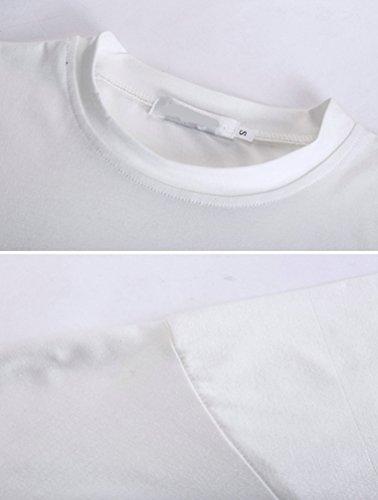 ZhiYuanAN Herren Sommer Baumwolle Gedruckt Kurzarm T-Shirt Normallack Shirt Lässig Rundhals T-Shirt Hemd Weiß